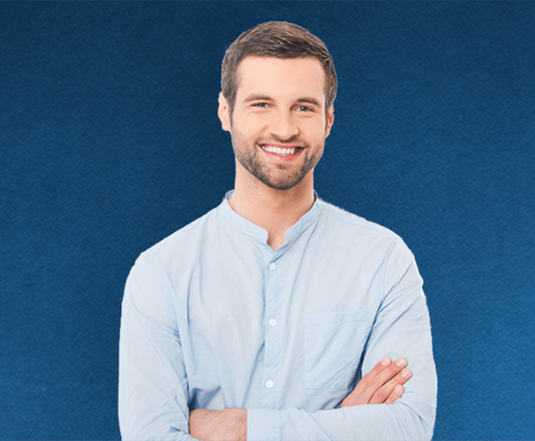 happy man with folded arms